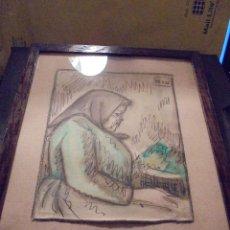 Arte: BON - ANTIGUA PLUMILLA ACUARELADA , FIRMADA BON , ( ROMAN BONET ) ENMARCADA DE EPOCA . Lote 47189562