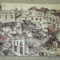 Arte: VISTA DE TOLEDO, CARBONCILLO SANGUINA DEL PINTOR CÁNTABRO SERGIO DEL POZO COSSIO, 1976 32X23 CM. Lote 47271751