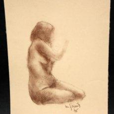 Arte: ILEGIBLE. DIBUJO A PASTEL. DESNUDO FEMENINO. Lote 47320563