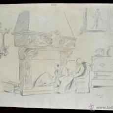 Arte: ENRIC CLARASÓ DAUDÍ (SANT FELIU DEL RACÓ, 1857 - BARCELONA, 1941) DIBUJO A LÁPIZ Y CARBÓN. INTERIOR. Lote 47337906