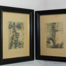 Arte: PAREJA DE LAMINAS PAISAJES PARISINOS - AÑOS 70. Lote 47341764
