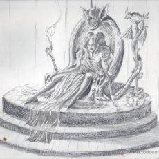 Arte: REINA VAMPIRA TRONO LAPIZ. VER DESCRIPCIÓN.. Lote 47378769