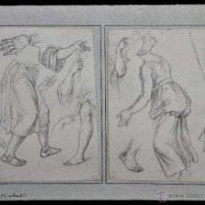 Arte: JOSÉ MIRABENT GATELL (BARCELONA, 1831 – 1899) PAREJA DE DIBUJOS A LÁPIZ GRASO. ESBOZOS. Lote 47417114