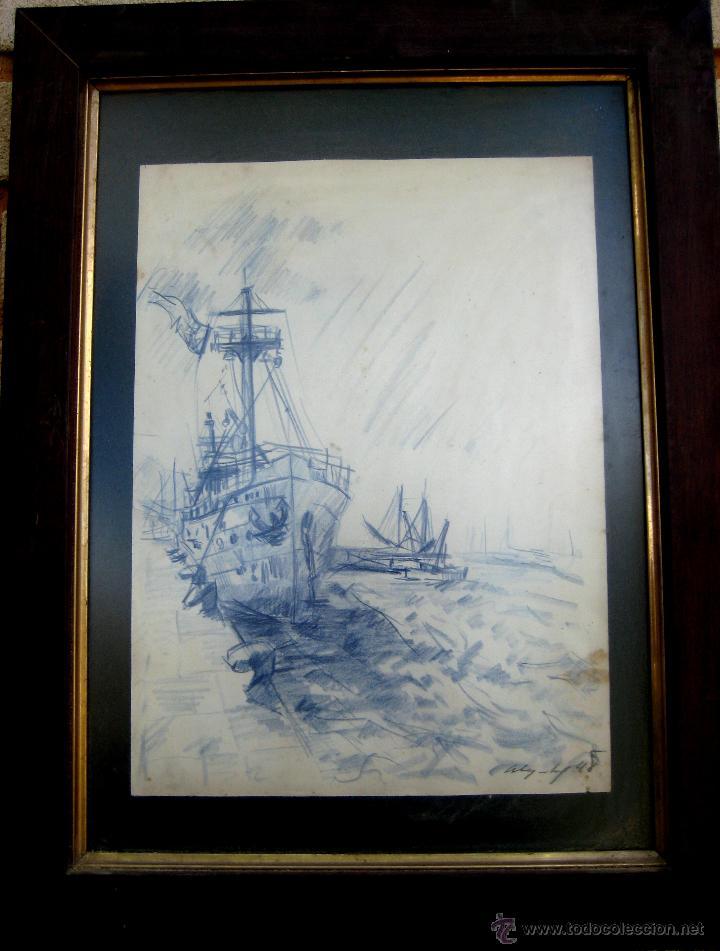 VISTA DE PUERTO. TINTA/PAPEL FIRMADO Y FECHADO EN 1948 (Arte - Dibujos - Contemporáneos siglo XX)