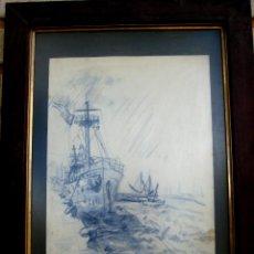 Arte: VISTA DE PUERTO. TINTA/PAPEL FIRMADO Y FECHADO EN 1948. Lote 47435934