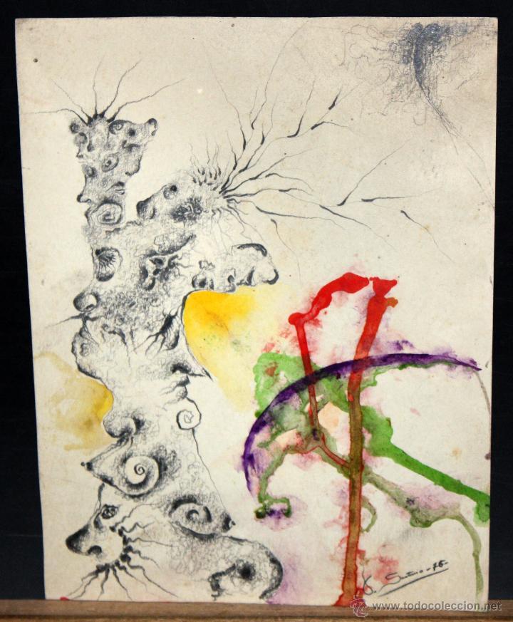 ILEGIBLE. TECNICA MIXTA SOBRE PAPEL. ABSTRACTO (Arte - Dibujos - Contemporáneos siglo XX)