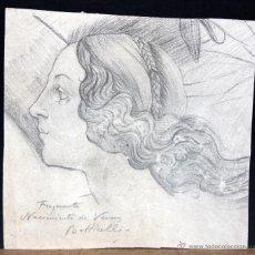 Arte: FIRMADO BOTTICELLI. DIBUJO A CARBON. FRAGMENTO DEL NACIMIENTO DE VENUS. Lote 47530116