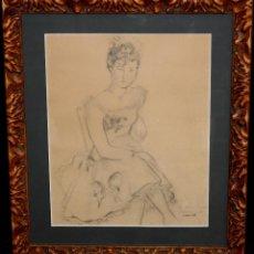 Arte - ARTUR CARBONELL I CARBONELL (SITGES, 1906 - 1973) DIBUJO A CARBÓN. RETRATO FEMENINO DE LOS AÑOS 50 - 47551692