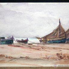 Arte: ANONIMO. DIBUJO A LAPIZ DE COLOR DE LOS AÑOS 50. MARINA. Lote 47565063