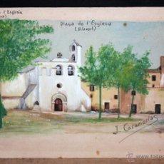 Arte: JOSEP CASANELLAS ROSELL. GOUACHE SOBRE PAPEL DE LOS AÑOS 40. PLAÇA DE L'ESGLESIA (VILAVERT). Lote 47565608