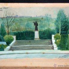 Arte: JOSEP CASANELLAS ROSELL. GOUACHE SOBRE PAPEL DE LOS AÑOS 40. MONUMENT AL DANT (MONTJUICH). Lote 47565666