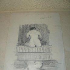 Arte: DIBUJO A LAPIZ - ANÓNIMO - DESNUDO. SALIENDO DE LA BALSA.. Lote 47597083