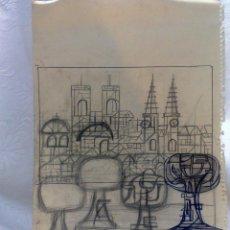 Arte: -.BARCELONA.- INTERESANTE DIBUJO A LAPICERO Y BOLÍGRAFO.. Lote 47628801