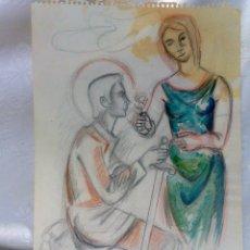 Arte: SANT JORDI, .- DÍA DEL LIBRO Y DE LA ROSA. DIBUJO A COLOR FIRMADO Y FECHADO.. Lote 47664551