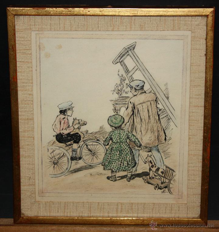 JOAN PELLICER MONTSENY (BARCELONA, 1863 - L'ESCALA, 1914) DIBUJO A TINTA COLOREADO (Arte - Dibujos - Contemporáneos siglo XX)