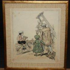 Arte: JOAN PELLICER MONTSENY (BARCELONA, 1863 - L'ESCALA, 1914) DIBUJO A TINTA COLOREADO. Lote 47696190