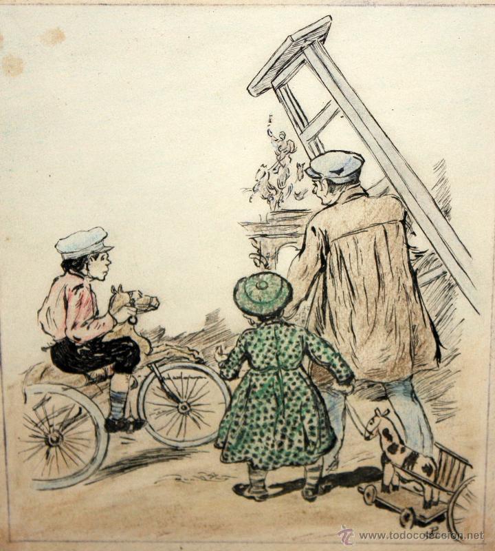 Arte: JOAN PELLICER MONTSENY (Barcelona, 1863 - L'Escala, 1914) DIBUJO A TINTA COLOREADO - Foto 2 - 47696190