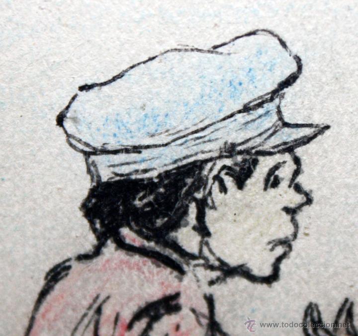 Arte: JOAN PELLICER MONTSENY (Barcelona, 1863 - L'Escala, 1914) DIBUJO A TINTA COLOREADO - Foto 5 - 47696190