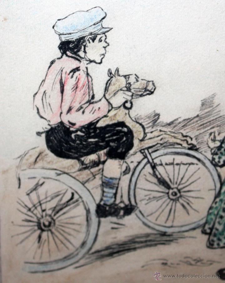 Arte: JOAN PELLICER MONTSENY (Barcelona, 1863 - L'Escala, 1914) DIBUJO A TINTA COLOREADO - Foto 6 - 47696190