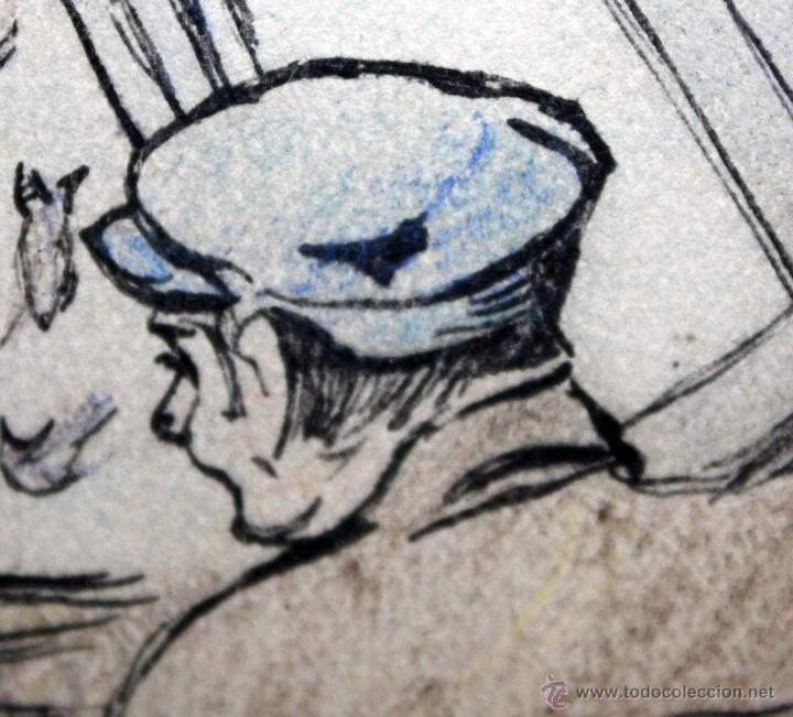 Arte: JOAN PELLICER MONTSENY (Barcelona, 1863 - L'Escala, 1914) DIBUJO A TINTA COLOREADO - Foto 8 - 47696190