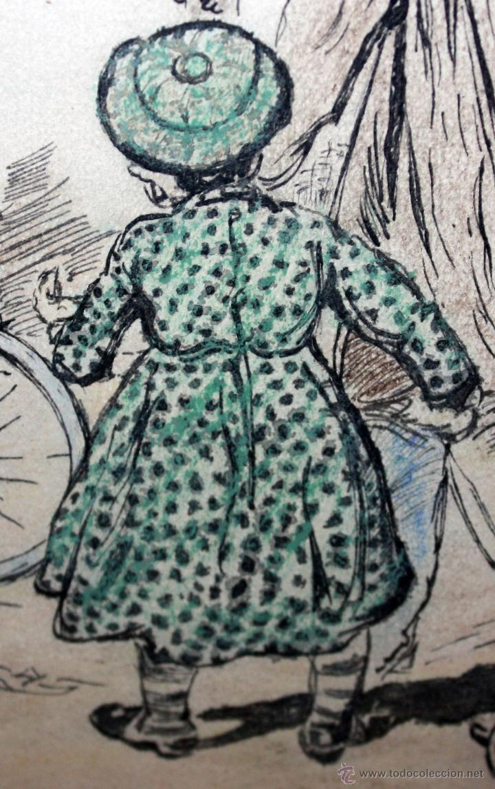 Arte: JOAN PELLICER MONTSENY (Barcelona, 1863 - L'Escala, 1914) DIBUJO A TINTA COLOREADO - Foto 10 - 47696190