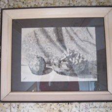 Arte: BODEGÓN A PLUMILLA - CÁNDIDO ÁVILA - UVAS Y GRANADA - 1952. Lote 47760172