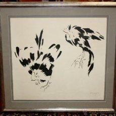 Arte: JOSEP MIQUEL SERRANO I SERRA (BARCELONA, 1912 - SITGES, 1982) DIBUJO A TINTA. PAREJA DE AVES. Lote 47803615