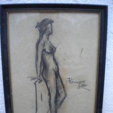 Arte: DIBUJO A CARBON DE PASAJES 1940'S, DESNUDO FEMENINO.. Lote 47810632