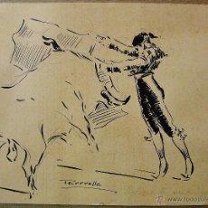 Arte: BELMONTE VERONIQUEANDO. DIBUJO LÁPIZ Y TINTA. JOAQUÍN TERRUELLA MATILLA (1891-1957).. Lote 47830345