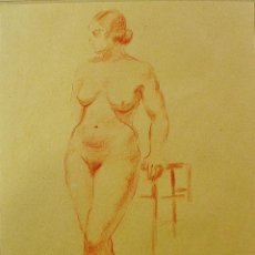 Arte: DESNUDO FEMENINO. DIBUJO AL LÁPIZ. JOAN VILA PUIG (1890-1963). FIRMADO.. Lote 47830504