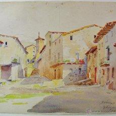 Arte: VALLFOGONA DE RIPOLLÈS, GIRONA. ACUARELA SOBRE PAPEL. DOMINGO SOLER GILI (1871-1951). Lote 47830800