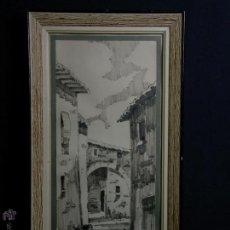 Arte: DIBUJO TINTA ROTULADOR CALLES PUEBLO FIRMADO J. COILINI AÑOS 50 55.5X30,5CMS. Lote 47896704