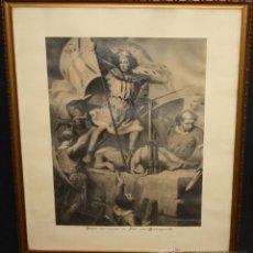 Arte: FIRMADO P. COROMINA. DIBUJO A CARBÓN DEL AÑO 1883. EL CONDE BERENGUER III CLAVANDO LA BANDERA DE BCN. Lote 47900711