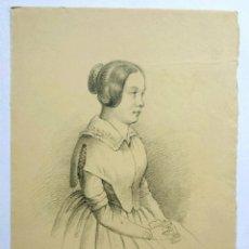 Arte: EXCELENTE RETRATO ORIGINAL DE UNA JOVEN DE LA NOBLEZA, REALIZADO A LAPIZ, FIRMADO, 1830-1840. Lote 47953559