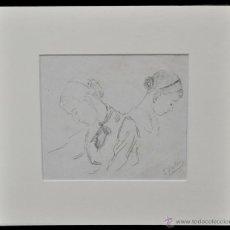 Arte: ERNEST SOLER I DE LES CASES (BARCELONA, 1864 - 1935) DIBUJO A LÁPIZ. PERSONAJES. Lote 48017242