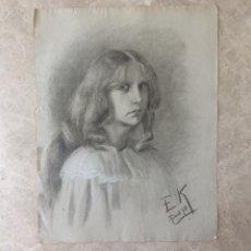 Arte: GRAN DIBUJO A GRAFITO ARTISTA ALEMAN E.K . PAPEL EN FILIGRANA PL BAS . SIGLO XIX. Lote 48075118