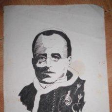Arte: OBISPO O CARDENAL DIBUJO PLUMILLA FIRMA FURIO ANTIGUO ADQUIRIDO EN VALENCIA 1957. Lote 36424027