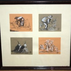 Arte: FRANCISCO MORENO JIMENEZ (HERRERA, SEVILLA, 1944) CONJUNTO DE 4 DIBUJOS A CARBÓN Y CLARIÓN. Lote 48266023