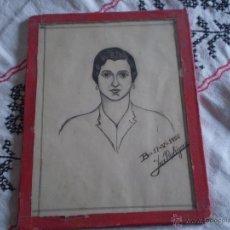 Arte: ANTIGUO RETRATO DIBUJO NAIVE A TINTA Y LAPIZ.FIRMADO JOSE RODRIGUEZ,1956.. Lote 48271005