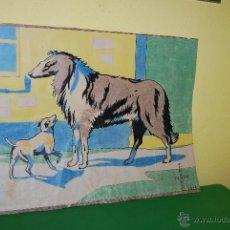 Arte: DIBUJO ORIGINAL COLOREADO A LA CERA - FERNANDO PEÑA 1935 - PERROS - PERRO - ART DÉCO. Lote 48314752