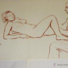 Arte: ANTIGUO DESNUDO DE MUJER Y PINTOR CARBON 1954, SANGUINA. Lote 48352992
