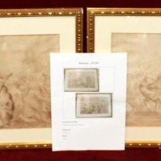Arte: ATRIBUIDO A GENARO PEREZ VILLAAMIL (EL FERROL, LA CORUÑA, 1807-MADRID, 1854) PAREJA DIBUJOS A COLOR. Lote 48560402