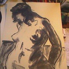 Arte: EXCELENTE DIBUJO AL CARBÓN DE MARK DEBROUX. POSADO FEMENINO.2008.. Lote 48580629