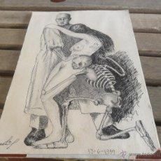 Arte: DIBUJO A PLUMILLA REPRESENTANDO SALVACION DE UNA MUJER DE LA MUERTE FIRMADO FECHADO 13 6 1959. Lote 110410562