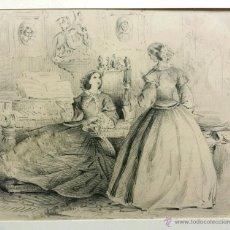 Maravilloso retrato original, Dos damas de la nobleza en la sala de música, mediados del siglo XIX