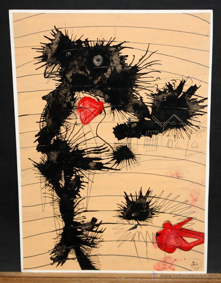 ILEGIBLE. TECNICA MIXTA SOBRE CARTULINA. ABSTRACTO (Arte - Dibujos - Contemporáneos siglo XX)
