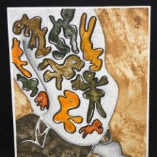 Arte: ILEGIBLE. TECNICA MIXTA SOBRE CARTULINA. ABSTRACTO. Lote 48988110