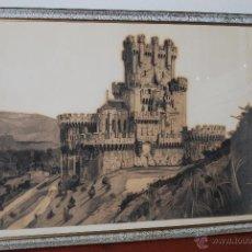 Art: DIBUJO ORIGINAL AL CARBONCILLO - CASTILLO DE BUTRÓN - VIZCAYA - AÑOS 30-40 - SILUETA. Lote 48993180