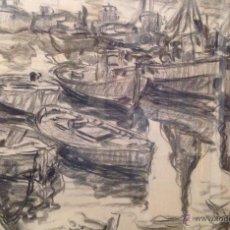 Arte: JOSEP CAMACHO BAEZA DIBUJO AL CARBONCILLO PUERTO DE BARCELONA. Lote 49025356