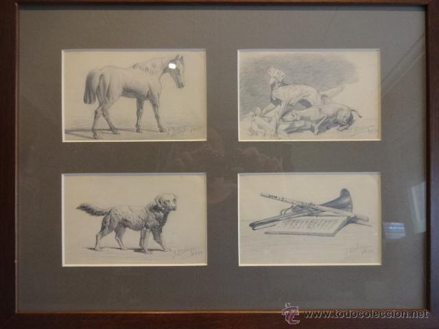 PIEZA ÚNICA. CUATRO DIBUJOS ORIGINALES A LÁPIZ SOBRE PAPEL - FIRMA BOHIGAS 1934. ENMARCADO / CRISTAL (Arte - Dibujos - Contemporáneos siglo XX)